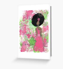 Dripping in Pink and Green Angel Greeting Card