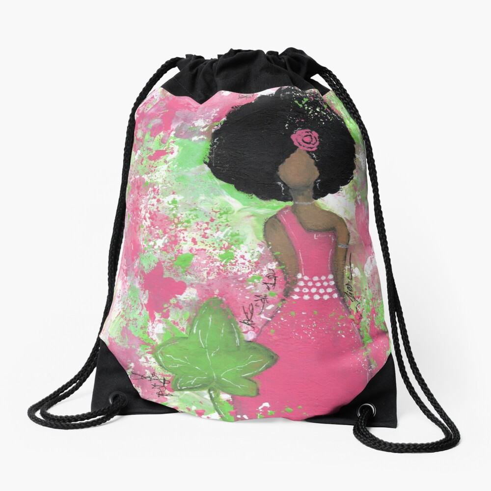 Dripping in Pink and Green Angel Drawstring Bag Front