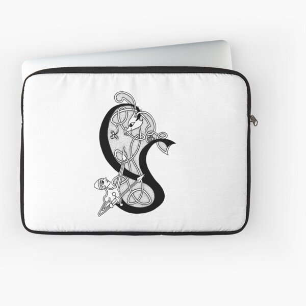 Knight and Dragon Alphabet - Y - black and white Laptop Sleeve