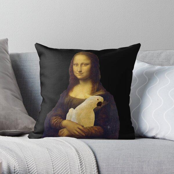 monalisa had a cockatoo Throw Pillow