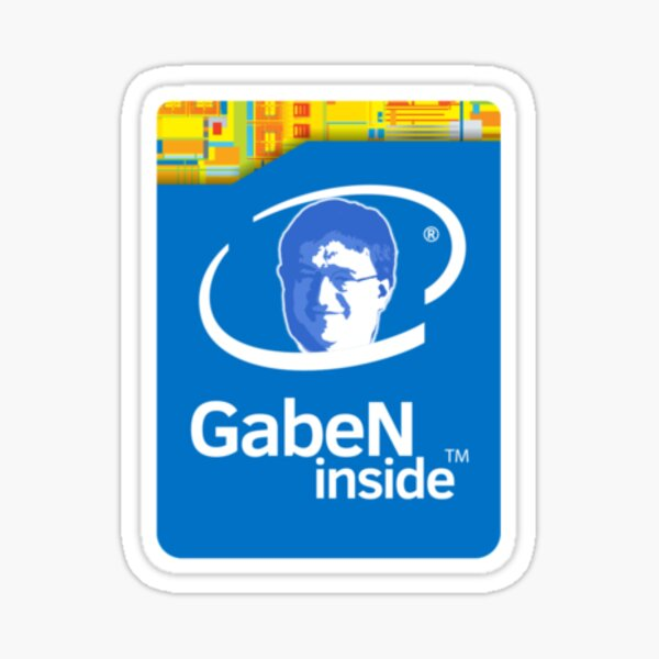 Gaben Inside Sticker - Intel Parody (Lord Gaben Inside) Sticker