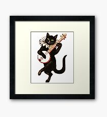 Banjo Playing Cat Funny Animal Lover Framed Print