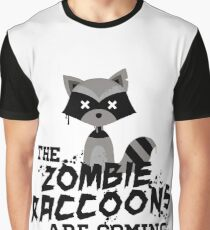 Funny Cute Distressed Zombie Raccoons Are Coming Pun Sayings Graphic T-Shirt