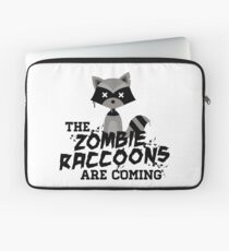 Funny Cute Distressed Zombie Raccoons Are Coming Pun Sayings Laptop Sleeve
