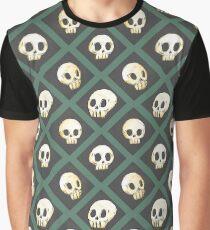 Tiling Skulls 3/4 - Green Graphic T-Shirt