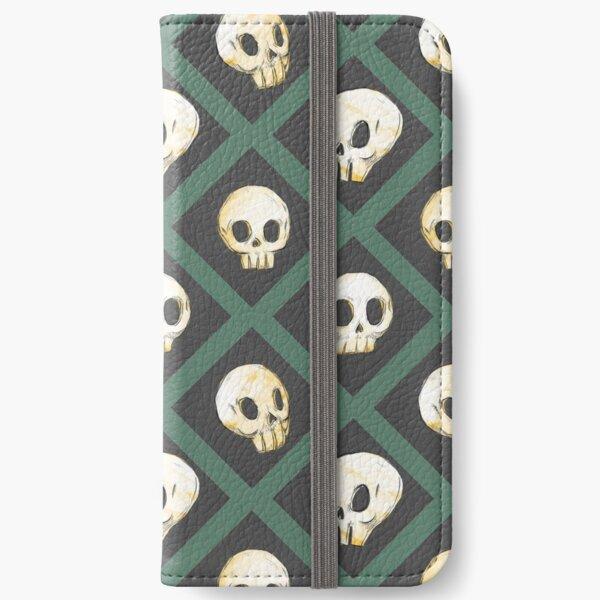 Tiling Skulls 3/4 - Green iPhone Wallet