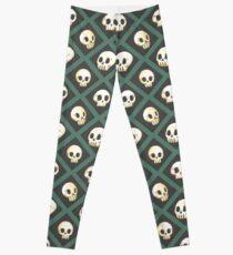 Tiling Skulls 3/4 - Green Leggings