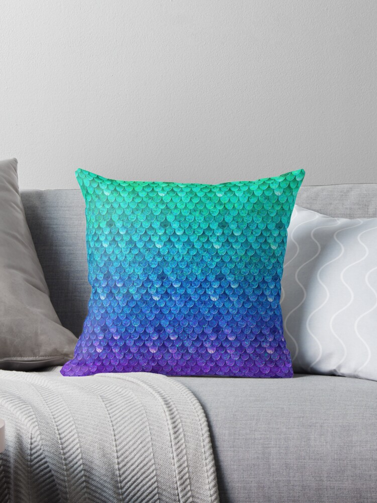 'Mermaid Scales' Throw Pillow by Old Glory Tees