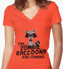 Funny Cute Distressed Zombie Raccoons Are Coming Pun Sayings Women's Fitted V-Neck T-Shirt