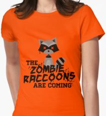 Funny Cute Distressed Zombie Raccoons Are Coming Pun Sayings Women's Fitted T-Shirt