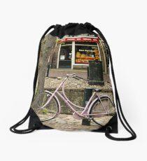 Pink Bike in Holland  Drawstring Bag
