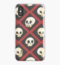 Tiling Skulls 2/4 - Red iPhone Case