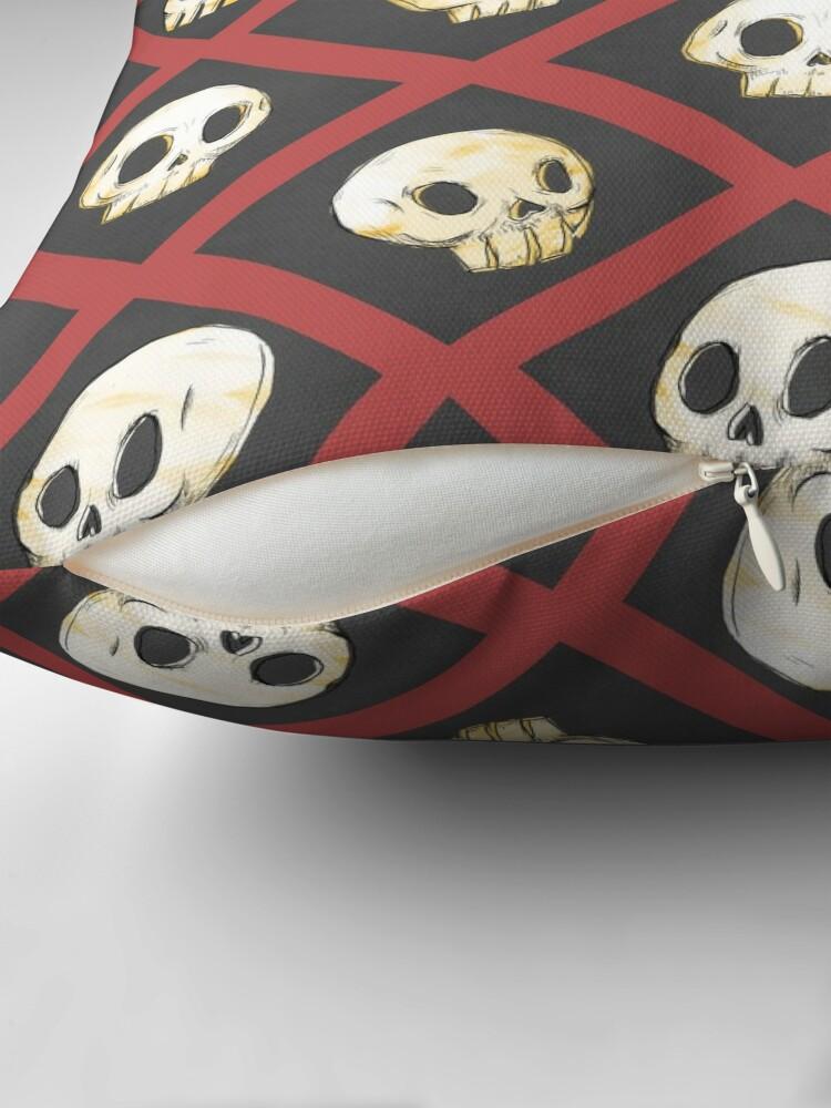 Alternate view of Tiling Skulls 2/4 - Red Throw Pillow