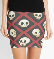 Tiling Skulls 2/4 - Red Mini Skirt