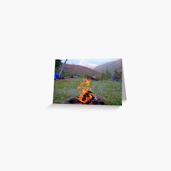 Campfire and Rainbow in Yellowstone Greeting Card