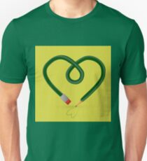 A green heart-shaped pencil. Valentine's day. Vector illustration Unisex T-Shirt