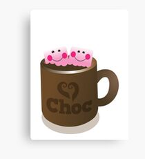Hot Chocolate with seriously cutie Kawaii marshamallows Canvas Print