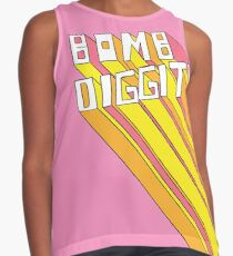 Retro Bomb Digity Words In Pink, Yellow, and Orange Contrast Tank