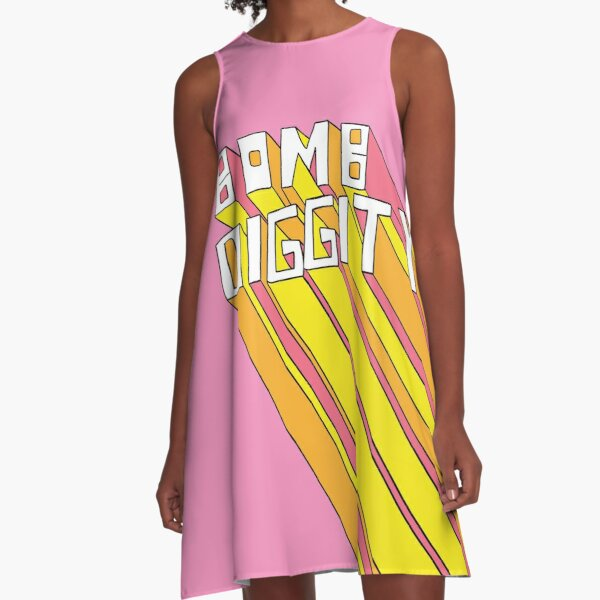 Retro Bomb Digity Words In Pink, Yellow, and Orange A-Line Dress