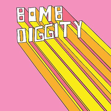 Retro Bomb Digity Words In Pink, Yellow, and Orange by Melindatodd