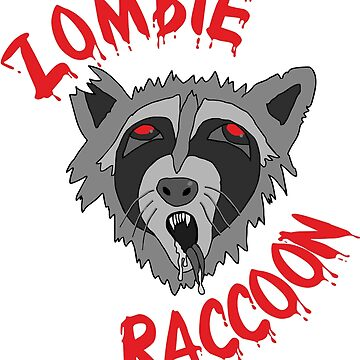 Funny Cute Scary Zombie Racoon Red Edition by dereinst