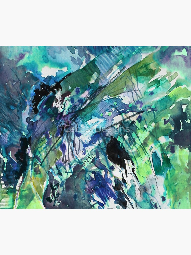 Blue/Green landscape - Original Abstract Watercolour by Francesca Whetnall by Cecca-Designs