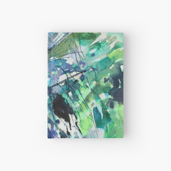 Blue/Green landscape - Original Abstract Watercolour by Francesca Whetnall Hardcover Journal