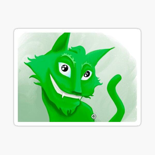 Kyrai the green cat Sticker