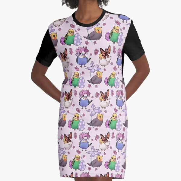 Spring Budgies & Cockatiels - Pink Graphic T-Shirt Dress
