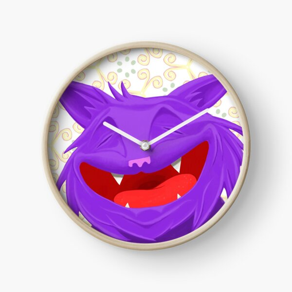 Anselmo the fat violet cat Clock