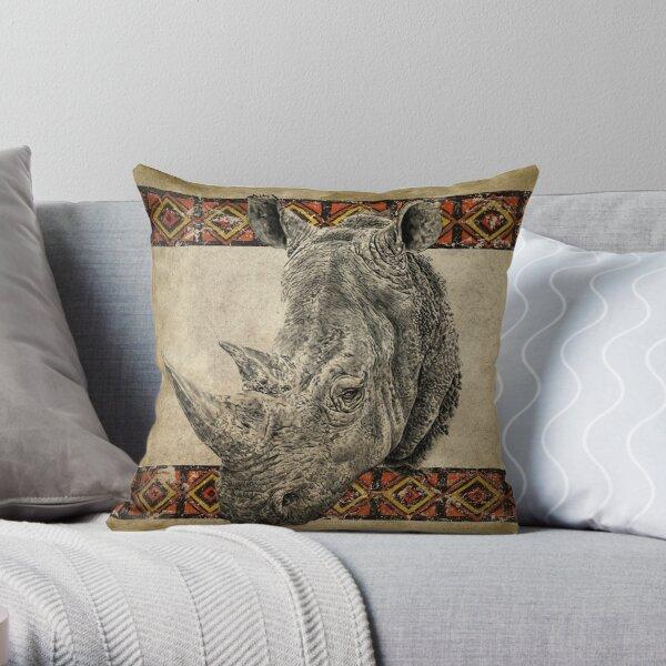 Serengeti Rhino Throw Pillow