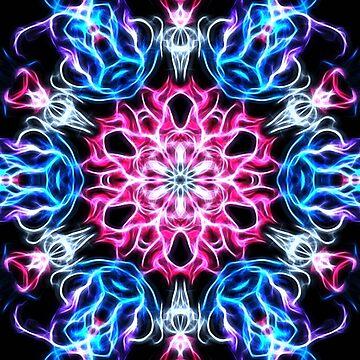 Galactic flame art, mandala, cosmic, space, neon, galaxy, nebula, fractal, artwork by lavalova