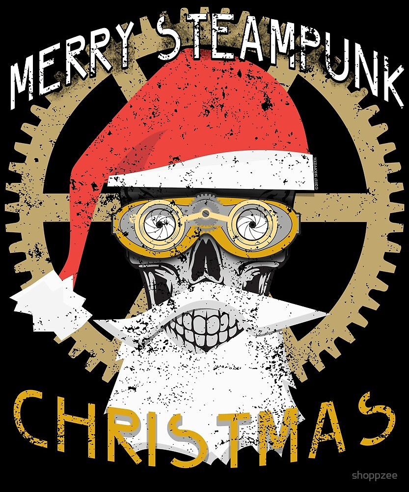 Merry Steampunk Christmas Clothing Skull by shoppzee