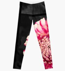 Pink and white dahlia designs Leggings