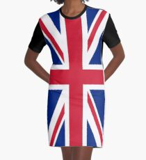 UK Great Britain Royal Union Jack Flag Graphic T-Shirt Dress
