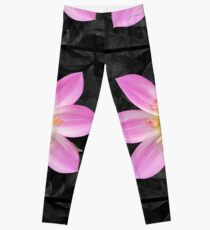 Pink flower art Leggings