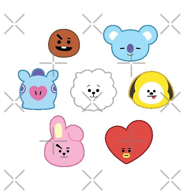 bts bt21 character stickers by banaart redbubble