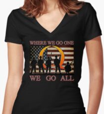 WHERE WE GO ONE WE GO ALL - military, soldiers, veterans, QANON, #QANON Women's Fitted V-Neck T-Shirt