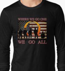 WHERE WE GO ONE WE GO ALL - military, soldiers, veterans, QANON, #QANON Long Sleeve T-Shirt