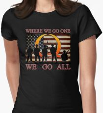 WHERE WE GO ONE WE GO ALL - military, soldiers, veterans, QANON, #QANON Women's Fitted T-Shirt