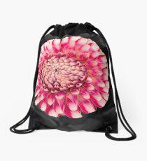 Pink and white dahlia designs Drawstring Bag