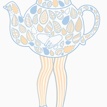 Teapot Girl - blue by susanlee