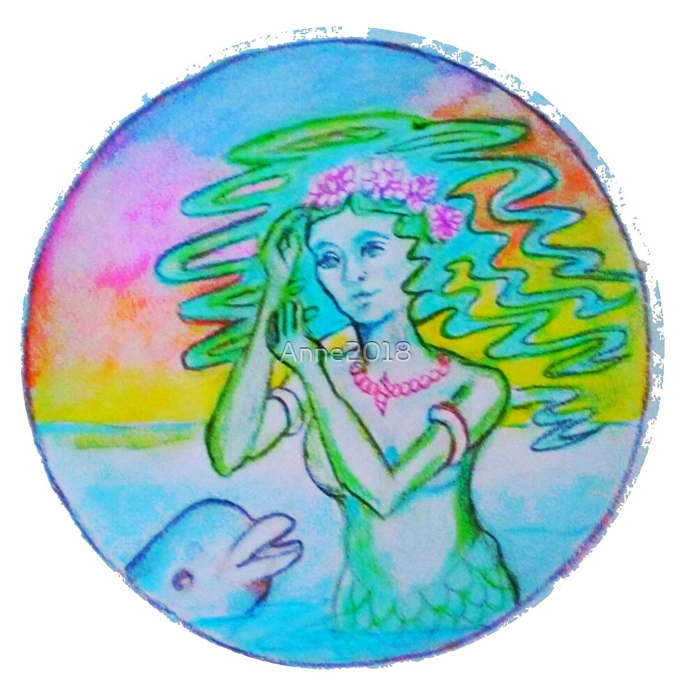Art Nouveau Standing Mermaid with dolphin by Anne2018