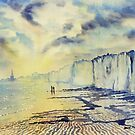 Twilight Stroll on the Beach by Glenn  Marshall
