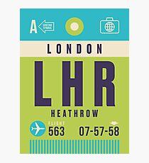 Retro Airline Luggage Tag - LHR London Heathrow Airport England Photographic Print