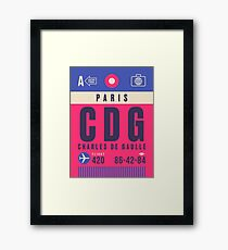 Retro Airline Luggage Tag - CDG Paris Charles De Gaulle Airport France Framed Print