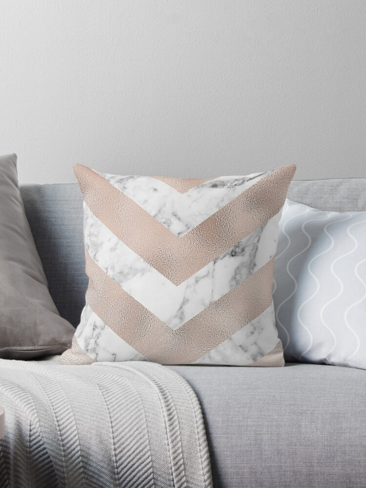 Quot Rose Gold Marble Chevron Quot Throw Pillow By Peggieprints
