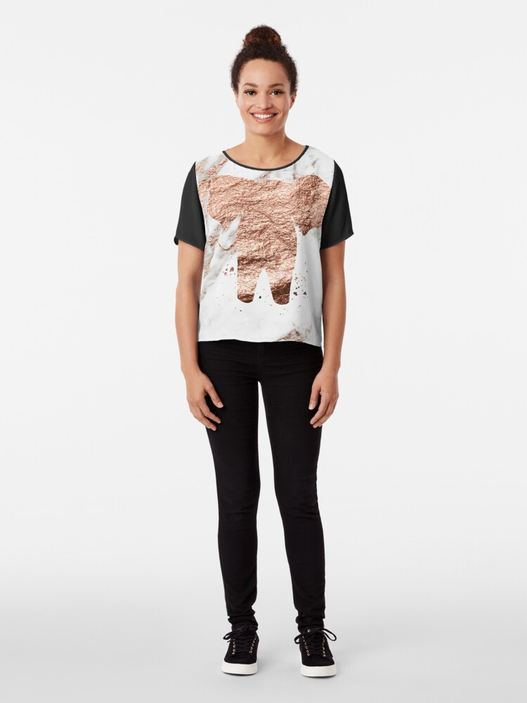 Alternative Ansicht von Elefant - Roségold Marmor Chiffon Top