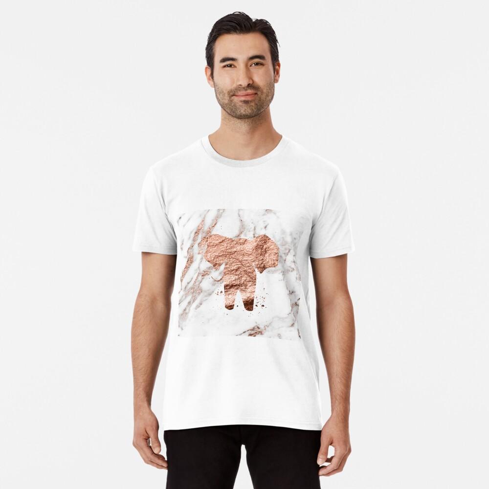 Elefant - Roségold Marmor Premium T-Shirt