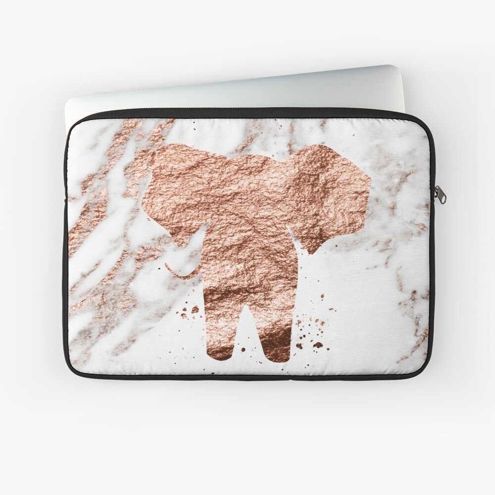 Elefant - Roségold Marmor Laptoptasche